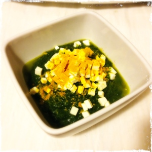 green soup and feta cheese