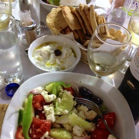 Tzaziki and greek salad
